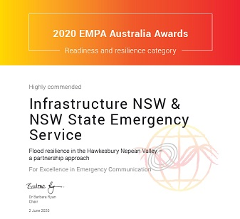NSW SES acknowledged for Hawkesbury-Nepean Valley Community Resilience Program